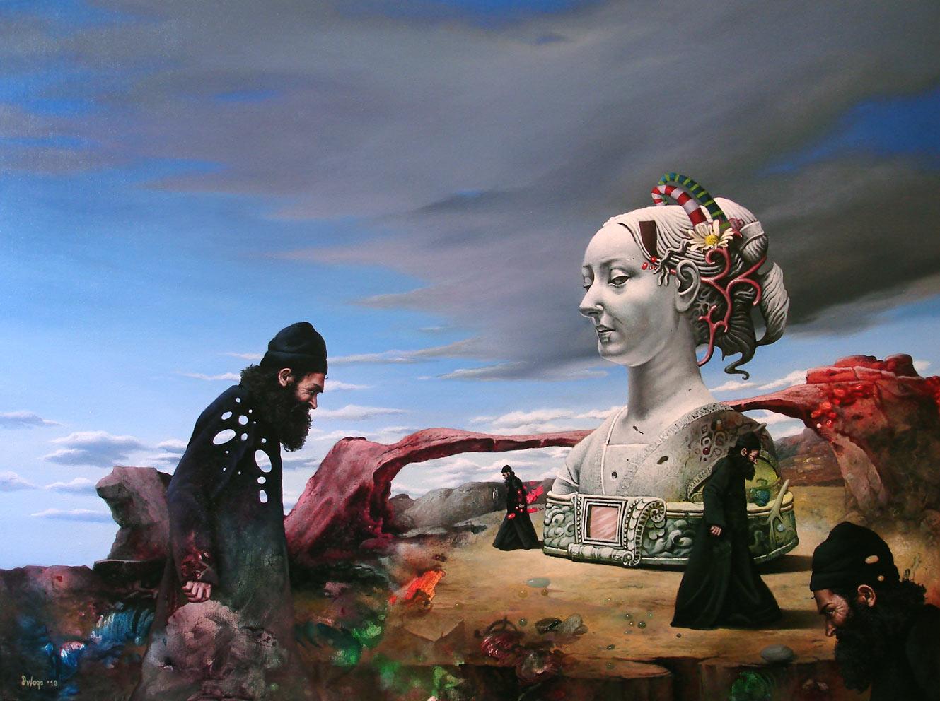 Biti covek, 60×80 cm, Acrylic and oil on canvas, 2010.