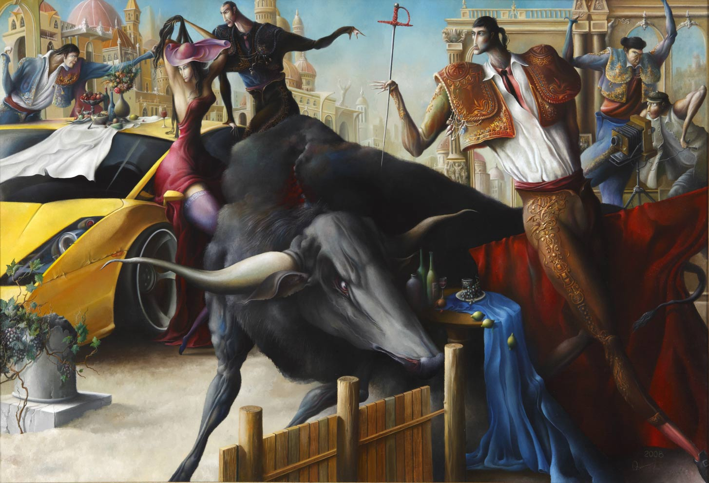 Event with bullfighting, 94x138 cm, oil on canvas, 2008.