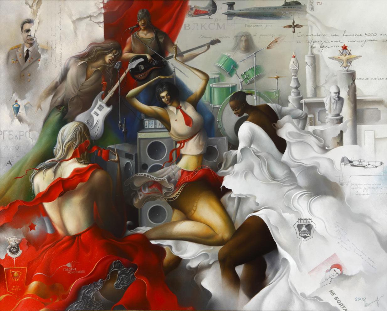 Last dance of outgoing era, 120x140 cm, oil on canvas, 2009.