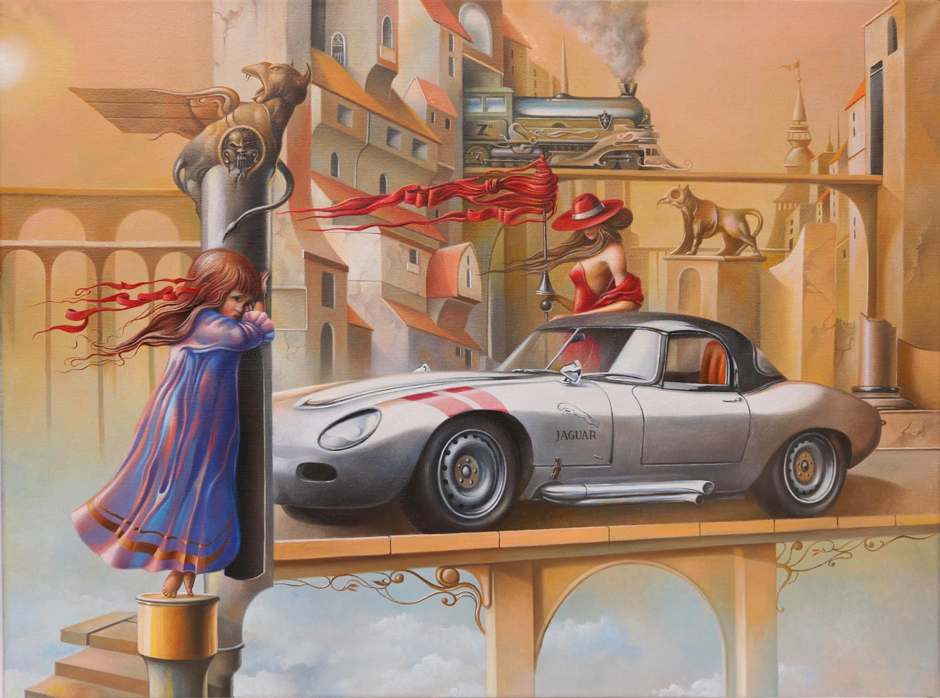 Mysterious Awakening of a Jaguar in Yellow Town, 60x80 cm, oil on canvas, 2013.