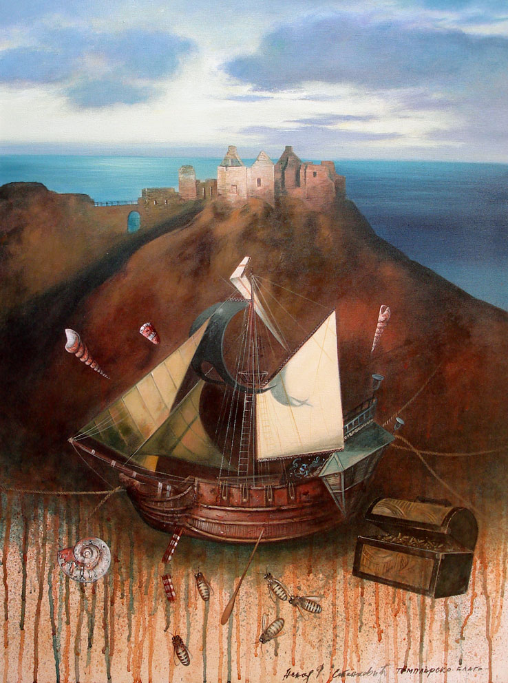 The Quest for the Treasure of the Templars, 80x60cm, mixed media, 2012.