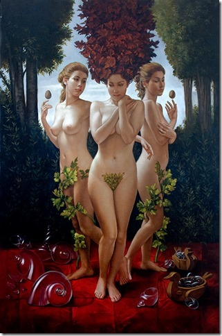 Three graces, 120x80 cm, oil on canvas, 2010.
